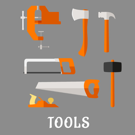 diy tool: Carpenter and DIY tool flat icons with axe, hammer, hand saw, claw hammer, bench vice, jack plane and hacksaw with text Tools below, for industrial design