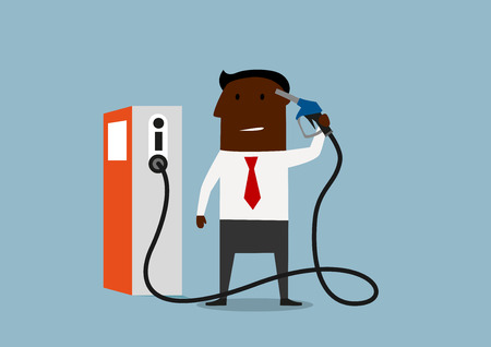disagree: African american businessman holding gas pump nozzle near his head to show his disagree with too high gas prices. Cartoon flat Illustration