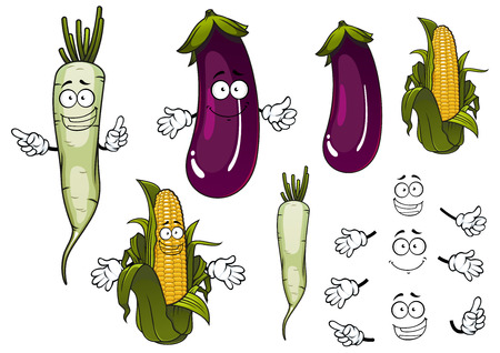 sweet corn: Cob of sweet corn, white daikon radish and violet eggplant vegetables cartoon characters with fresh green leaves for vegetarian food or agriculture design Illustration
