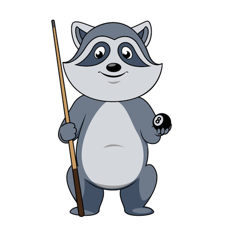cue: Cartoon gray raccoon billiards player character with lucky black ball and cue isolated on white background, for sporting club mascot theme