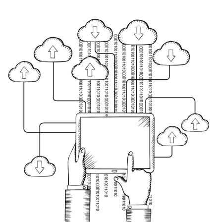 hands connected: Tablet pc in people hands, connected to cloud data storage with data streams, download and upload process,  sketch style Illustration