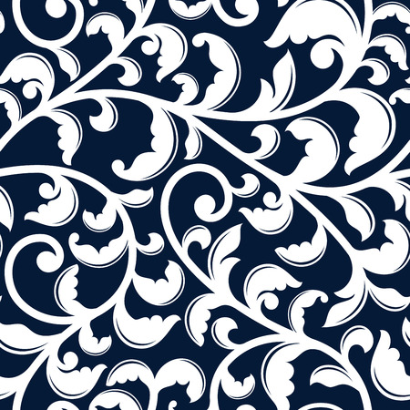 the medieval: Elegant floral seamless pattern of curved white flourishes with foliage and swirls on dark blue background, for interior wallpaper or textile design