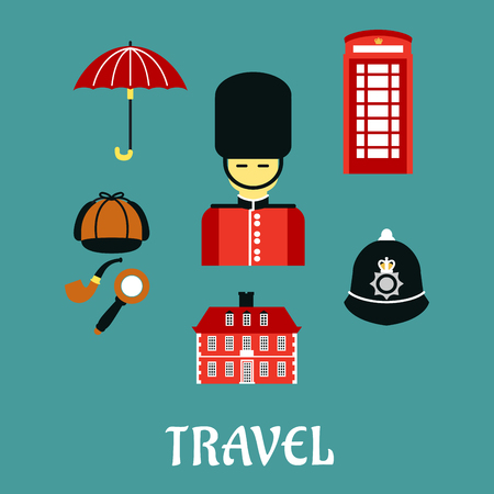 british: Great Britain travel flat iocns and symbols with guard soldier, red telephone booth, police helmet, detective cap, pipe and magnifier, umbrella and old building
