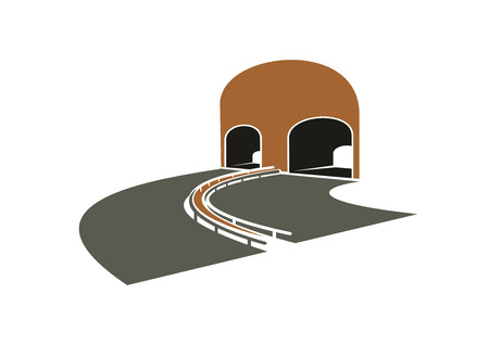 turns: Icon of speed highway lane turns to a tunnel with arched entrances,  for transportation or travel design Illustration