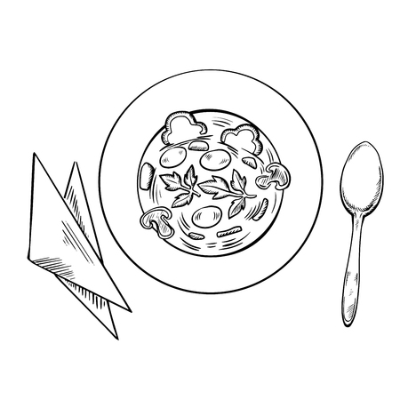 mushroom soup: Vegetarian soup with sliced mushroom, carrot, bell pepper vegetables and fresh parsley in plate with spoon and napkins, sketch style