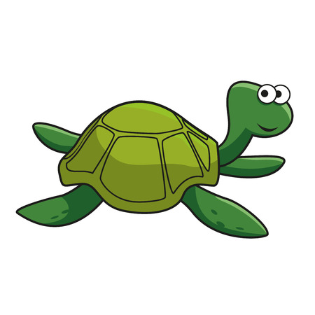 Cartoon green turtle character with smiling face and googly eyes isolated on white background Illustration