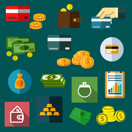 coins stack: Finance, business and money flat icons of dollar bills and golden coins, stack of gold bars, wallet, money bag, bank credit cards and financial report Illustration