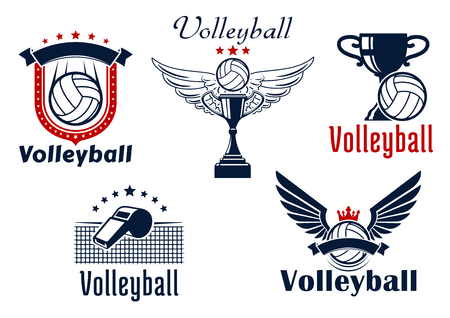 Volleyball game emblems with balls, wings, cups, crown and stars, net and whistle decorated by heraldic shield and ribbon banners