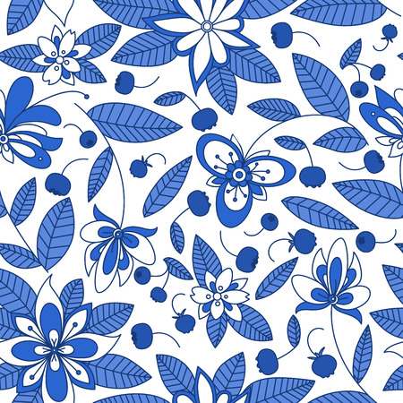 white flowers: Forest blueberry branches seamless pattern with stylized bright blue and white flowers for retro wallpaper or background design Illustration