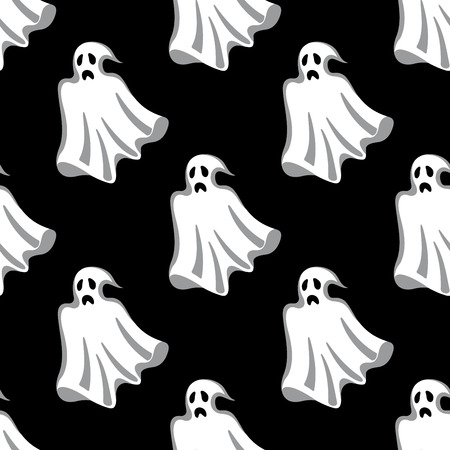 ghost cartoon: Seamless pattern of white Halloween ghosts for party and holiday design
