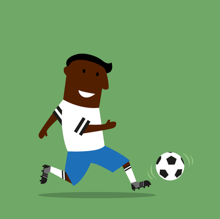 dribbling: Smiling black football or soccer player in sporting uniform dribbling a ball on field during the match. Cartoon flat style Illustration