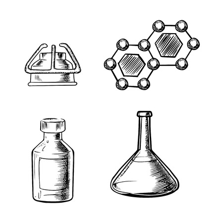 gas burner: Laboratory flask, gas burner, bottle and formula of molecule icons in sketch style, chemistry or science themes design Illustration