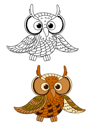 brown eyes: Great horned owl bird with mottled brown feathers and beige face around eyes, for mascot wildlife themes design Illustration