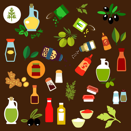 Flat icons of olive fruits, ginger, corn and green pea cans, spicy herbs, olive oil, salt and pepper shakers, vinegar, ketchup, mustard, mayonnaise, tomato sauce bottles. For condiments, spices, herbs and salad oil themes design