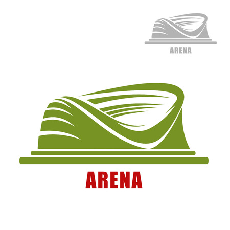 partial: Sport stadium icon of round green arena building with partial roofs, isolated on white background. For sporting themes design