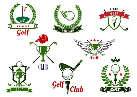 golf field: Golf club emblems or logo with balls, clubs, tees, putting green, trophies, supplemented by stars, crown, wings, cap, shields, laurel wreaths and ribbon banners Illustration
