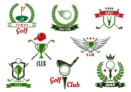 Golfclub Emblemen oder Logos mit Bällen, Keulen, T-Stücke, Putting Grün, Trophäen, die von Sternen, Krone, Flügel, Kappe, Schilde, Lorbeer Kränze und Farbband Banner ergänzt