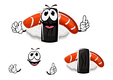 plato de pescado: Nigiri personaje de dibujos animados de sushi con salm�n ahumado y arroz envuelto en tiras de nori negro, para el men� de mariscos o temas de cocina de dise�o