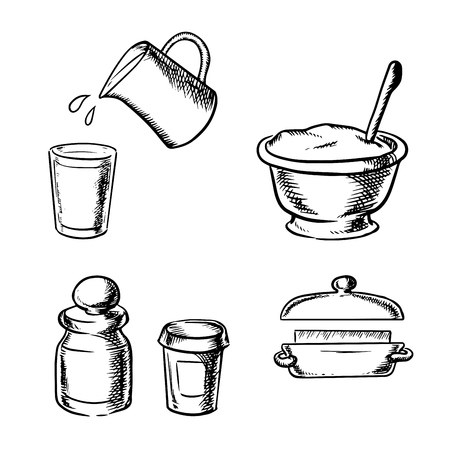 dough: Dough in bowl with wooden spoon, butter, glass and jug with milk, jars with flour and spices. Bakery ingredients in sketch style Illustration