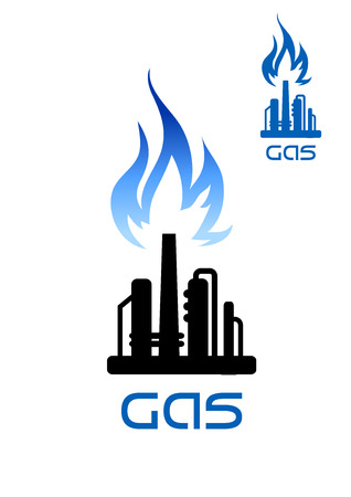 petroleum blue: Oil refinery plant icon with blue flame of natural gas over black silhouette of pipeline and flare stack, for heavy industry theme design Illustration