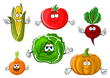 pumpkin tomato: Autumnal red tomato, corn cob, onion, cabbage, beet and orange pumpkin vegetables cartoon characters for vegetarian food or agriculture themes