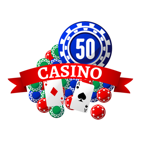 chips: Casino icon with colorful gambling chips and playing cards, wrapped by red ribbon banner with text Casino Illustration