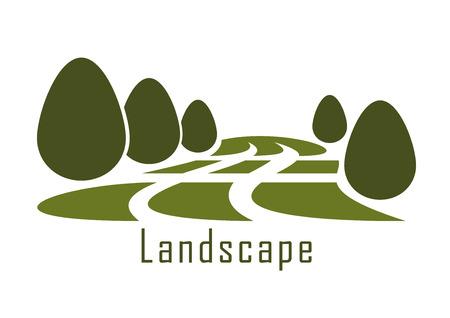 Moderne icône du paysage de parc urbain vert pelouse d'herbe et les buissons taillés isolé sur fond blanc Banque d'images - 45320553
