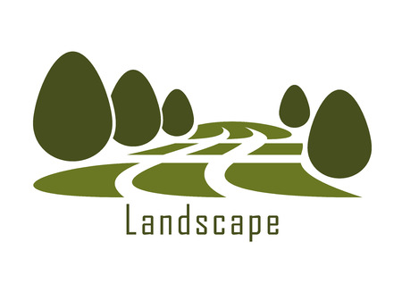 Modern urban park landscape icon with green grass lawn and trimmed bushes isolated on white background Illustration