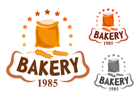 Bakery emblem showing bag of flour, surrounded by golden stars and wheat ears with header Bakery and foundation date below Illustration