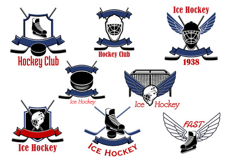hockey rink: Ice hockey game icons and symbols with hockey sticks and pucks, gate, winged skates and goalie masks, supplemented by heraldic shields and ribbon banners