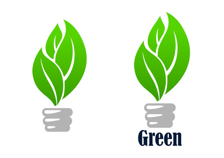 green light bulb: Green light bulb abstract icon with fresh leaves, for environment or save energy concept design