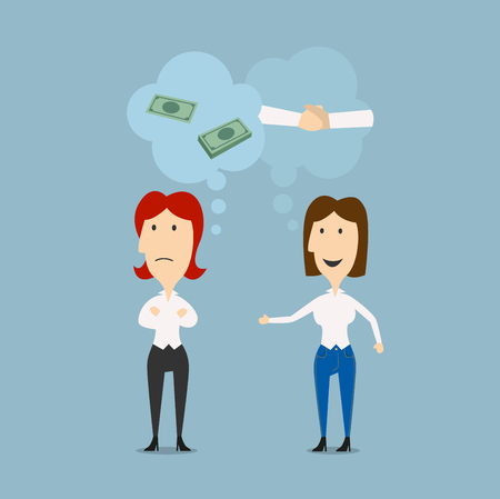 discuss: Businesswomen discuss details of partnership or contract with thought bubbles above them showing money and handshake. For business cooperation theme design. Cartoon flat style