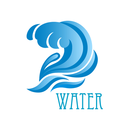 Blue ocean wave icon with lush crest and flowing water drops isolated on white background