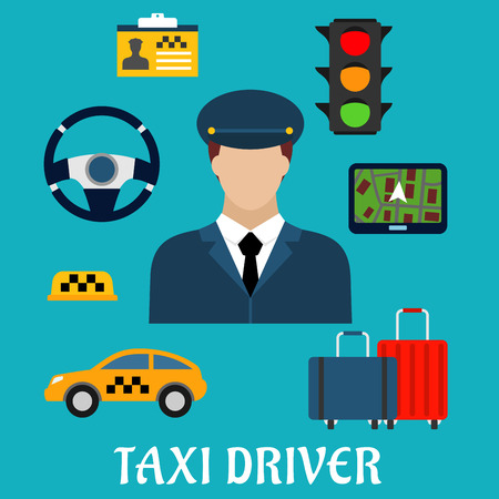 car wheel: Taxi driver profession flat icons with man in uniform and yellow car, luggage, steering wheel and navigation map, traffic light, checkered roof sign and name badge Illustration