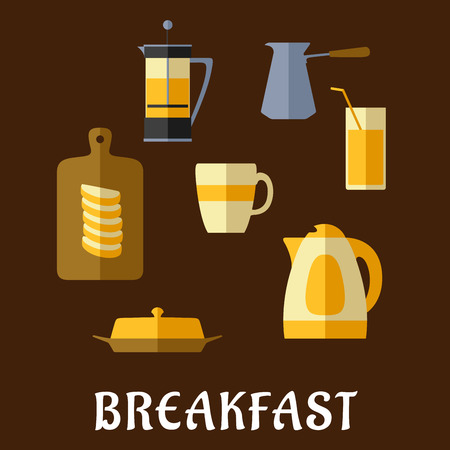 Breakfast food and drinks flat icons with fresh brewed coffee and tea, pots, cup, juice glass, butter, sliced bread on chopping board and electric kettle