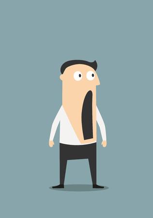 感情表現の概念設計のため、口を大きく開けて、驚きやショックを実業家。フラットの漫画のキャラクター  イラスト・ベクター素材