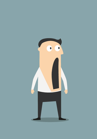boca abierta: Hombre de negocios sorprendido o sorprendida con la boca abierta, para el diseño de concepto emoción expresión. Personaje de dibujos animados plana