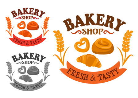 Bakery shop icon with sweet bun rolls and croissant, adorned by wheat ears on both side and ribbon banner with text Fresh and Tasty Illustration