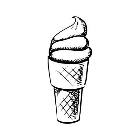 soft ice: Sweet vanilla soft ice cream in waffle cone isolated on white background, sketch style Illustration