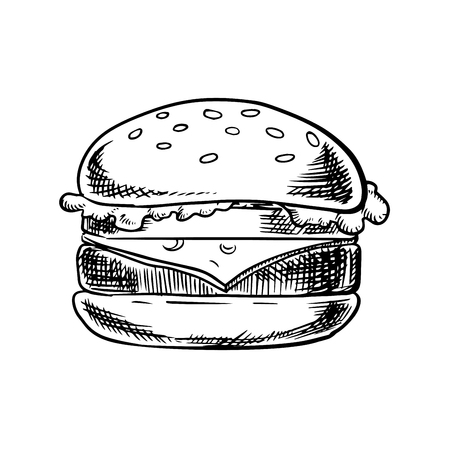 Fast food cheeseburger with grilled beef, slice of swiss cheese, fresh tomato and lettuce leaf on white wheat bun with sesame seeds isolated on white background. Sketch image Illustration