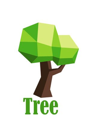 low poly: Green 3D polygonal tree abstract icon isolated on white background with caption Tree, low poly style