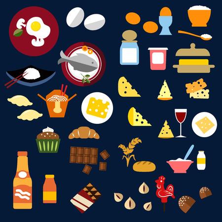 Alimentación y bebidas iconos planos de pan, mantequilla, queso, vino, avena, pescado, comida china, productos lácteos, magdalena, croissant, barras de chocolate y dulces, zumos, frutos secos Foto de archivo - 45597457