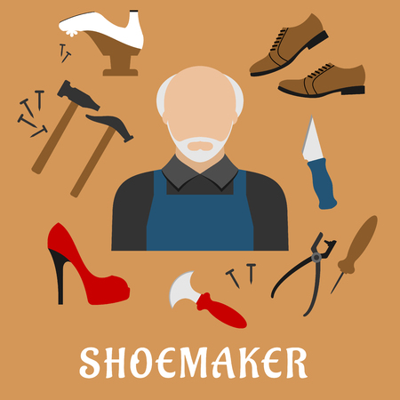 cobbler: Shoemaker profession flat icons with mature man in apron, surrounded by shoes, hammers, tacks, awl, shoemaker knives, lasting pliers and wooden last isolated on background Illustration