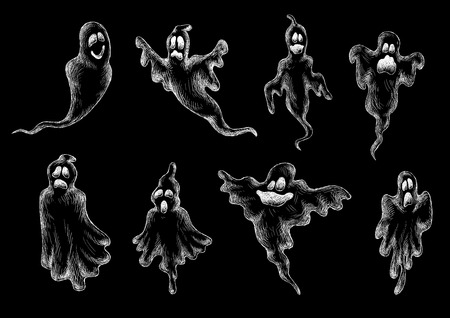 cute ghost: Halloween ghosts and monsters sketches set for holiday party design