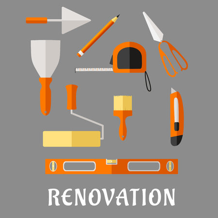 spirit level: Renovation and construction tools flat icons with pencil, roulette and trowel, spatula, paint roller and brush, scissor, utility knife and spirit level