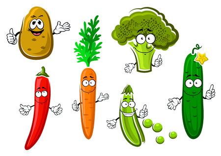 papas: Historieta de la zanahoria, patata, pepino, guisantes, brócoli y pimiento chile caracteres vegetales con sonrisas divertidas. Para el diseño de la comida sana vegetariana o la agricultura Vectores