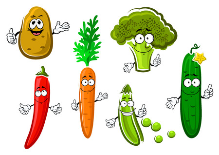 Cartoon carrot, potato, cucumber, pea, broccoli and chilli pepper vegetable characters with funny smiles. For healthy vegetarian food or agriculture design