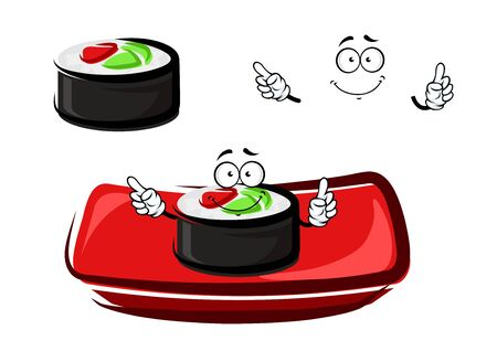 rice plate: Smiling sushi roll cartoon character with smoked salmon and rice, served on red rectangular plate. For seafood restaurant menu theme