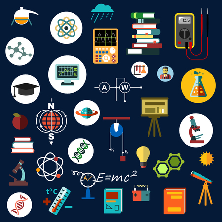 computer equipment: Physics science and technology flat icons with laboratory equipment, books, microscopes, electrical measuring instruments, computer, telescope, dna and atom models, formulas and circuits Illustration