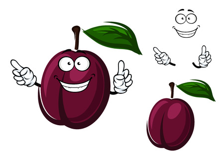purple leaf plum: Juicy purple plum fruit cartoon character with green leaf for healthy fresh food or agriculture themes Illustration